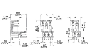 0025DHLM INDUSTRY STANDARD RIGHT ANGLE INTER. DOVE TAIL PCB HEADERS