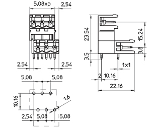 04258D1 INDUSTRY STANDARD RIGHT ANGLE/INTER. DOVE TAIL PCB HEADERS
