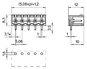 04258HRA INDUSTRY STANDARD RIGHT ANGLE/CLOSED ENDS PCB HEADERS