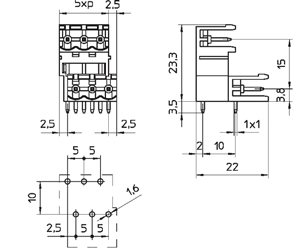0425D INDUSTRY STANDARD RIGHT ANGLE INTER. DOVE TAIL PCB HEADERS