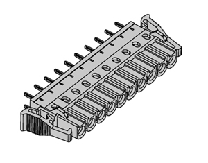 355121 INDUSTRY STANDARD VERTICAL WITH SPRING LATCH PCB HEADERS