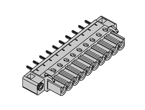 355131 INDUSTRY STANDARD VERTICAL WITH LOCKING FLANGES PCB HEADERS