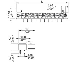355331 INDUSTRY STANDARD RIGHT ANGLE WITH LOCKING FLANGES PCB HEADERS
