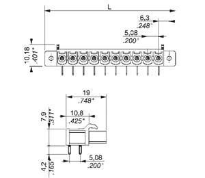 355371 INDUSTRY STANDARD RIGHT ANGLE WITH SELF TAPPING FLANGES PCB HEADERS