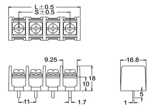 t36 – b m11 - 04  433 pcb barrier terminal blocks - 11 00mm